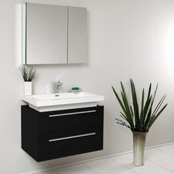 """31.5"""" Medio Single Vanity with Medicine Cabinet - Black (FVN8080BW) - Striking in its simplicity, the Fresca Medio Single Vanity offers modern sophistication to your bathroom. This vanity is wall mounted with two pull out drawers for storage.  Fits virtually anywhere!  Many faucet styles to choose from.  Optional side cabinets are available."""