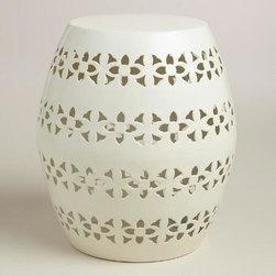 White Floral Metal Sonia Outdoor Stool -