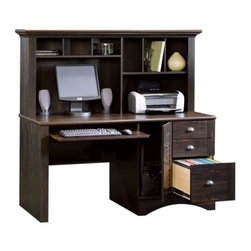 Sauder - Harbor View Computer Desk w Hutch in Antique - Includes desk with slide-out keyboard and mouse shelf has metal runners and safety stops and hutch with cubbyhole storage and vertical storage compartments. Storage area behind louver detailed desk door that holds a vertical CPU tower. 3 Drawers features patented T-lock assembly system (lower drawer with full extension slides that hold letter, legal or European size hanging files). EverSheen� top-coat provides clear, durable finish that resists heat, stains and scratches. Detailing includes bead board back panel. Patented slide-on moldings. Made of engineered wood. Assembly required. 62 in. W x 24 in. D x 57 in. H