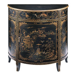 "Inviting Home - Hand-Painted Oriental Cabinet - Hand-painted half-round cabinet with Oriental scenes on an antiqued black background one drawer one door with one shelf inside and antiqued brass hardware; 34""W x 17""D x 32""H Hand-crafted half-round cabinet. This cabinet is hand-painted with Oriental scenes on an antiqued black background. Hand painted cabinet has one drawer one door with one shelf inside and antiqued brass hardware."