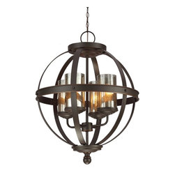 Sea Gull Lighting - Sea Gull Lighting 3110404-715 Sfera 100W Incand. Transitional Chandelier - Named after the Italian word for sphere, the transitional Sfera Collection features detailed center bands and rounded, sweeping curves -- rustic with a modern inspiration. Extraordinary painted mercury glass or cafe tint glass adds additional design interest.
