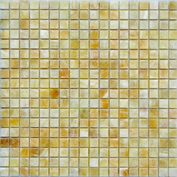 """Marbleville - Honey Onyx 5/8"""" x 5/8"""" Polished Finish Mesh-Mounted Mosaic in 12"""" x 12"""" Sheet - Premium Grade Honey Onyx 5/8"""" x 5/8"""" Polished Mesh-Mounted Onyx Mosaic is a splendid Tile to add to your decor. Its aesthetically pleasing look can add great value to any ambience. This Mosaic Tile is made from selected natural stone material. The tile is manufactured to high standard, each tile is hand selected to ensure quality. It is perfect for any interior projects such as kitchen backsplash, bathroom flooring, shower surround, dining room, entryway, corridor, balcony, spa, pool, etc."""