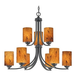 Design Classics Lighting - Modern Chandelier with Brown Art Glass in Matte Black Finish - 586-07 GL1001C - Contemporary / modern matte black 9-light chandelier. Takes (9) 100-watt incandescent A19 bulb(s). Bulb(s) sold separately. UL listed. Dry location rated.