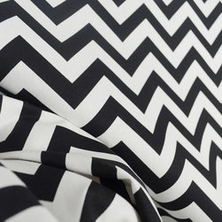 Zig Zag Black White Chevron Fabric By The Yard - Black and white chevron fabric. Very cool design in a stark black and white contrast. Great for pillows, drapery panels, bedding or cover cornice boards for a designer look.