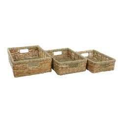 Oriental Furniture - Handwoven Low Basket Trays, Set of 3 - Storage baskets are an easy way to add style and function to any space. This set of three is hand woven of banana leaf and features a strong metal frame. The smaller baskets fit inside the large one when not in use.