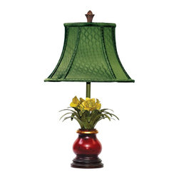 Sterling Industries - Sterling Industries Flowers In Ruby Vase Tropical Table Lamp X-380-19 - A ruby red vase with gold lip accenting is seated on a beveled espresso-finished base on this Sterling Industries table lamp. This Flowers in Ruby Vase also features a vivid emerald green diffuser with a bell shape and bone detailing. The yellow daffodils add a whimsical touch.
