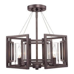 Golden Lighting - Marco Convertible Semi-Flush Mount - Includes three 12 in. and one 6 in. rods. Bulbs not included. Requires four incandescent type C 60 watts candelabra bulbs. Contemporary style. Four E27 sockets. Electric wire gauge: SPT-1.20288 18AWG 105 degree C. Adjustable height from 16.5 - 46.5 in.. Provides widespread ambient lighting reflecting light off ceiling to soften overall effect. Clear glass cylinders. UL listed for dry location. Total wattage: 240. Made from steel. Gunmetal and warm bronze color. Wire length: 10 ft.. Glass shade: 2.5 in. Dia. x 5.5 in. H. Canopy extension: 1 in.. Canopy: 5 in. Dia.. Overall: 16 in. W x 46.5 in. H (6.71 lbs.). Warranty. Assembly Instructions