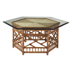 Lexington - Tommy Bahama Home Island Estate Key Largo Cocktail Table - The six-sided woven rattan base with leather binding is reflected in the matching angles of the enlarged glass top. Similarly, the woven lampakani is presented in six triangles to replicate yet draw the entire design to a center focal point.