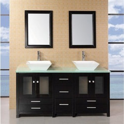"Design Element - Design Element Arlington 61"" Double Sink Bathroom Vanity with Glass Top - Espres - The Arlington 61"" double vanity is elegantly constructed of solid oak wood. The designer square vessel sinks and tempered glass countertop bring a crisp and contemporary look to any bathroom. The sinks and countertop beautifully contrast with the rich features of the espresso cabinetry. This stylish design includes two soft-closing double cabinet doors, and twin drawers under each set of doors. A matching detached espresso cabinet with three drawers is provided for additional storage. Also included with this set are two espresso-framed mirrors. Features: Solid Oak Wood constructionAqua green Tempered Glass Counter TopRectangular White Porcelain Vessel SinksPolished chrome pop up drainSeven Drawers and Two Double Door CabinetsMatching framed mirrorSoft closing cabinet door ensures you never hear door slam againManufacturer provides 1 year warrantyFaucet(s) not included61""W x 22""D x 34""H How to handle your counterView Spec Sheet"