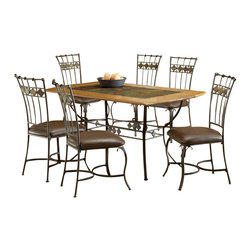 Hillsdale Furniture - Hillsdale Lakeview 7 Piece Rectangle Dining Room Set w/ Slate Side Chairs - Rustic textures and colors combine to create Hillsdale Furniture's Lakeview dining collection. Boasting a striking fusion of medium oak wood, coppery brown metal, and a dynamic slate inlay in the center of the table, this group also features many options to customize your own ensemble, from a wood top chair or baker rack to a slate topped chair or baker rack with a diamond motif and a rectangle rounded edge or round table. Boasting easy to maintain and versatile brown faux leather seats, a pretty scrolled chair, and a rounded table bases with corresponding slate accents. This unusual ensemble also includes a coordinating sideboard or wine bar and matching 360 degree swivel bar and counter stools. Composed of heavy gauge tubular steel, solid wood edges, climate controlled wood composites and veneers, this unique group is a perfect addition to your home.