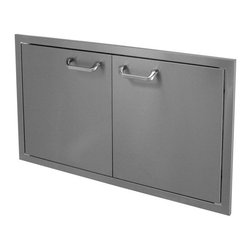 """HBI - Hasty-Bake 36"""" Stainless Steel Deluxe Double Access Doors (36DD-DLX) - These doors feature double-lined construction, all Stainless 304 grade material, 3 way adjustable cabinet hinges, and polished chrome handles. Raised bezel compliments the look of other top quality appliances installed in your outdoor kitchen. Available in numerous sizes.  Features:"""