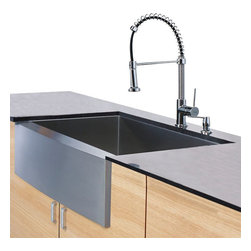 Vigo Industries - Stainless Steel Kitchen Sink, Faucet and with Soap Dispenser - Enhance your kitchen workspace with a Vigo Farmhouse stainless steel kitchen Sink, Faucet and Dispenser. Sink is manufactured with 16 gauge premium 304 series stainless steel construction.