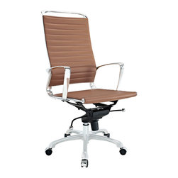 Modway Furniture - Modway Tempo Highback Office Chair in Tan - Highback Office Chair in Tan belongs to Tempo Collection by Modway Skip to a beat that your life��_��_��_��_��_��_s ambitions deserve. Tempo is a supercharged modern office chair that comes outfitted with all the amenities of its more stolid counterparts. The polished chrome-plated aluminum armrests portray a spirit on the rise, even as your arms find themselves properly positioned for the tasks at hand. The ribbed vinyl highback and seat pattern help evenly disperse your body��_��_��_��_��_��_s weight, while instilling a look that imbues momentum and a love for life. Tempo comes equipped with a tension control knob and tilt lock to further personalize the chair, while the pneumatic chair lever easily adjusts the chair��_��_��_��_��_��_s height. The 360 degree swivel will also keep your inner ��_��_��_��_��_kid��_��_��_��_��_ entertained at all times as well. Additionally, the hooded aluminum base comes equipped with five dual-wheeled casters for easy gliding over carpeted surfaces. Whether you are looking to buy one for yourself, or one-hundred for your office, Tempo is a chair that enhances productivity in the most natural ways possible. Set Includes: One - Tempo Highback Office Chair Office Chair (1)