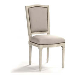 Kathy Kuo Home - Pair Benoit French Country Linen Burlap Antique Ivory Dining Side Chair - Down home country detailing meets regal European design in these Benoit dining side chairs. Natural linen and burlap envelope the seat's front and back while ivory wood and nail head studding complete the look.  Place these around a dining table or marble kitchen island in your French cottage home. Item sold as a pair.