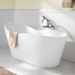 "65"" Iredell Acrylic Freestanding Tub - Distinguished by its wavy silhouette, the 65"" Iredell Freestanding Acrylic Tub suits a contemporary decor. A raised end allows you to lean back comfortably and forget your cares."