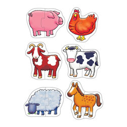 """The Original Toy Company - The Original Toy Company Kids Children Play Farmyard - 6 fun first puzzles of friendly farm animlas. Ages 18 months plus. Puzzle Size- 6""""x 5"""" 2 piece puzzles. Made in England."""