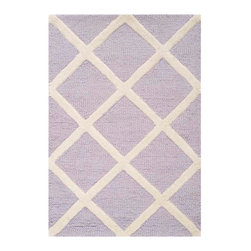 Safavieh - Ackerman Hand Tufted Rug, Lavander / Ivory 2' X 3' - Construction Method: Hand Tufted. Country of Origin: India. Care Instructions: Vacuum Regularly To Prevent Dust And Crumbs From Settling Into The Roots Of The Fibers. Avoid Direct And Continuous Exposure To Sunlight. Use Rug Protectors Under The Legs Of Heavy Furniture To Avoid Flattening Piles. Do Not Pull Loose Ends; Clip Them With Scissors To Remove. Turn Carpet Occasionally To Equalize Wear. Remove Spills Immediately. Bring classic style to your bedroom, living room, or home office with a richly-dimensional Safavieh Cambridge Rug. Artfully hand-tufted, these plush wool area rugs are crafted with plush and loop textures to highlight timeless motifs updated for today's homes in fashion colors.