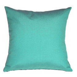 Pillow Decor - Pillow Decor - Sunbrella Aruba Turquoise Blue 20 x 20 Outdoor Pillow - These pillows are made with renowned Sunbrella outdoor fabric. Adds a lush touch to your outdoor decor. Mix and match with other pillows in this series, fantastic stripes & solids in fresh, happy colors!