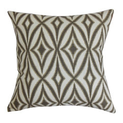 """The Pillow Collection - Petar Geometric Pillow Flint 20"""" x 20"""" - This throw pillow brings comfort and style to your interiors with its fashionable design. This decor pillow features a unique geometric pattern in shades of brown and white. This accent pillow is versatile and suits various decor styles, including contemporary, modern and classic. Pair this square pillow with a matching pattern or solids. This 20"""" pillow is made from 100% plush cotton material. Hidden zipper closure for easy cover removal.  Knife edge finish on all four sides.  Reversible pillow with the same fabric on the back side.  Spot cleaning suggested."""
