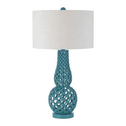 Horizons - Horizons Chain Link Contemporary Table Lamp X-LT-5848 - The elegant Blue finish on this AF Lighting contemporary table lamp creates an unexpected twist for any setting. From the Chain Link Collection, the body features an eye-catching curvaceous frame constructed of chain link detailing. To complete the updated look, a white poly linen hard back drum shade has been used.