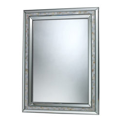 Sterling Industries - Sardis Mirror In Brushed Steel And Mother Of Pearl Shell - The Sardis Mirror In Brushed Steel And Mother Of Pearl is an exquisite mirror.  This mirror has a wonderful streamline stainless steel frame, with a absolutely beautiful mother of pear inlay.  A breath taking mirror that reminds you of the clear ocean where the mother of pearl comes from.