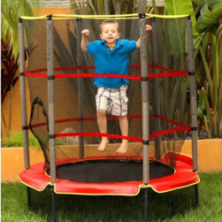 """Bravo Sports - Kids Airzone 55-Inch Trampoline with Enclosure - Enjoy hours of fun and exercise with this 55"""" diameter youth trampoline with mesh enclosure combo. Features a soft bungee cord suspension system with fully padded cover and top rail plus foam-covered support poles for kid-safe bouncing."""