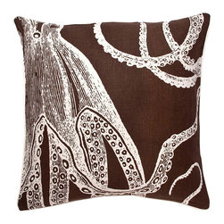 Thomas Paul - Octopus Linen Pillow, Java - Designed by Thomas Paul, part of the Thomas Paul Thomas Paul Linen Pillow Collection. Includes a 95/5 feather/down insert. Hand screen-printed design.