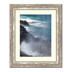 Frames By Mail - Wall Picture Frame Cocoa Brown with Moss Silver highlights, acid-free matte, 8x1 - This 8X10 cocoa brown picture frame is imported from Italy.  The white matte can be removed to accommodate a larger picture.  The frame includes regular plexi-glass (.098 thickness) foam core backing and can hang either horizontal or vertical.