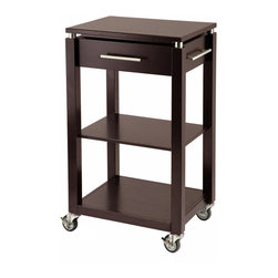 "Winsome Wood - Winsome Wood Linea Kitchen Cart w/ Chrome Accent - Kitchen Cart w/ Chrome Accent belongs to Linea Collection by Winsome Wood The contemporary styling of our Linea line has been expanded to include an entertainment cart. The cart is 21.65L x 15.75""W x 35""H; it comes with locking wheels, brushed stainless handle, one drawer and two shelves. The solid wood construction is finished in our rich espresso matte color. Kitchen Cart (1)"