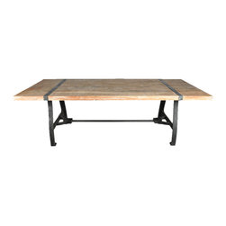 Factory Industrial Wrought Iron & Wood Dining Room Table - Manufacturing details