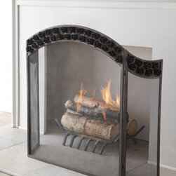 "Horchow - Arched Rose Fireplace Screen - The double row of roses arching across this fireplace screen adds a touch of romance to the hearth. Handcrafted of metal. Hand-painted black finish. 35.8""W x 11""D x 35.8""T. Imported. Boxed weight, approximately 20 lbs. Please note that this item...."