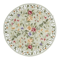 Momeni - Round Sage Wildflower Print Hand-Hooked Wool Rug - Spencer SP-16 - 7.0 ft. in diameter. Hand hooked. 100% Wool. Care InstructionSpencer is a casual collection of hand-hooked rugs featuring soft floral, country, and contemporary designs. Made in China of 100% wool.