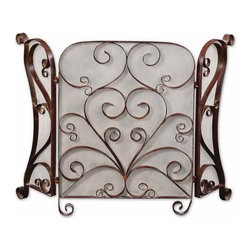 Uttermost - Uttermost 20278  Daymeion Metal Fireplace Screen - This screen is made of hand forged metal with a lightly distressed cocoa brown finish with light tan glaze.