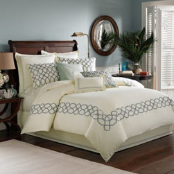 Tommy Bahama - Tommy Bahama Trellis Duvet Cover in Sea Mist - Transform your bedroom into a modern resort with the Trellis duvet cover. This bedding puts a tropical spin on hotel-style bedding with a bold trellis embroidery on an ivory textured base with layers of stitching, pleating, and novel embroidery details.