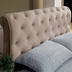 Hokku Designs - Concord Upholstered Headboard - Concord boasts the timeless details of 40s-era design a smartly tailored frame and precise welting. The slightly scrolled headboard is a comfortable and practical choice for years to come. Features: -Tall headboard with tufted design.-Slightly rolled headboard and durable fabric.-Solid wood and velvet fabric construction.-Beige finish.-Concord collection.-Wood Legs: Dark cherry finish.-Distressed: No.-Gloss Finish: No.-Powder Coated Finish: No.-Hardware Material: Metal.-Scratch Resistant: No.-Adjustable Height: No.-Wingback: No.-Nailhead Trim: No.-Lighting Included: No.-Wall Mounted: Yes.-Reversible: No.-Built In Outlets: No.-Hardware Finish: Metal.-Finished Back: Yes.-Hidden Storage: No.-Freestanding: No.-Frame Required: Yes.-Frame Included: No.-Drill Holes for Frame: No.-Frame Compatibility: Standard frame according to headboard size.-Swatch Available: No.-Eco-Friendly: No.-Product Care: Wipe clean with a dry cloth. Do not use strong liquid cleaners..-Commercial Use: Yes.Dimensions: -Overall Product Weight (Size: California King): 79 lbs.-Overall Product Weight (Size: Full): 75 lbs.-Overall Product Weight (Size: King): 86 lbs.-Overall Product Weight (Size: Queen): 76 lbs.-Overall Product Weight (Size: Twin): 75 lbs.Assembly: -Assembly Required: Yes.-Tools Needed: Screw Driver, Power Drill.