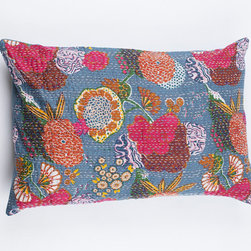 Sham Pillow Cover, Blueish Gray Floral Pattern by Gypsya - Shams with bouquets are my favorite kinds of shams.