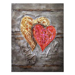 YOSEMITE HOME DECOR - Two Hearts Beat as One Art Painted on Canvas - Heavily textured, abstract painting of an overlapping red and gold heart rendered on a background of brown and gray.