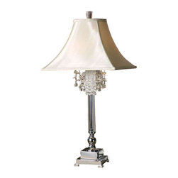 Uttermost Fascination Silver Table Lamp - Silver plated metal with crystal accents. This lamp features silver plated metal with crystal accents. The square bell shade is a silken champagne textile.