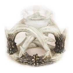 PS - 4 Inch Brown and White Deer Antler Design Single Candle Holder - This gorgeous 4 Inch Brown and White Deer Antler Design Single Candle Holder has the finest details and highest quality you will find anywhere! 4 Inch Brown and White Deer Antler Design Single Candle Holder is truly remarkable.