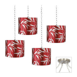 "Lamps Plus - Contemporary Silver Leaves 4-Light Multi Light Pendant - You can create a custom look for your home decor with this 4 light swag chandelier. The design features 4 red fabric drum shades with a pattern of silver leaves. Install the canopy as you would any other ceiling light then swag the shade lights as desired. It's a great style look for seating areas entry halls kitchens and more. Hard-wired installation. Includes shades and canopy swag kit. Adjustable hanging height and pattern. Create a custom look for any room space. Silver Leaves lamp shades. Brushed steel finish canopy and accents. Includes swag hooks and mounting hardware. 8 feet of chain. 10 feet of wire per light. Takes four 60 watt bulbs (not included). 7"" wide canopy. Each shade is 12"" wide 12"" deep and 10"" high.  Adjustable hanging height and pattern.  Create a custom look for any room space.  Silver Leaves lamp shades.  Brushed steel finish canopy and accents.  Includes swag hooks and mounting hardware.  8 feet of chain. 10 feet of wire per light.  Takes four 60 watt bulbs (not included).  7"" wide canopy.  Each shade is 12"" wide 12"" deep and 10"" high."