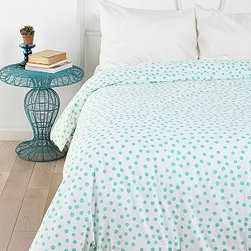 Plum & Bow Polka Dot Duvet Cover - How sweet would this polka dot duvet cover look in a little girl's room? I can see it in a room with white walls and painted furniture.