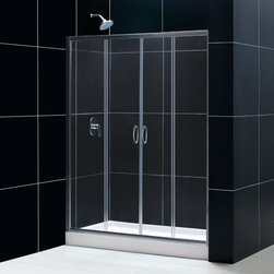 "Dreamline - Visions Frameless Sliding Shower Door, 34""x60"" Shower Base & Shower Backwall Kit - This smart kit from DreamLine offers the perfect solution for a bathroom remodel or tub-to-shower conversion project with a VISIONS sliding shower door, universal shower backwall panels and a coordinating SlimLine shower base. The VISIONS shower door has two stationary glass panels and two sliding glass panels that open to create an ample center point of entry. The SlimLine shower base incorporates a low profile design for a sleek modern look, while the shower backwall panels have a tile pattern. Envision your shower space fresh and new with this complete shower kit from DreamLine."