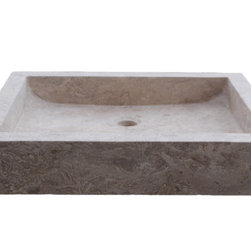 Rectangular Angled Flow Natural Stone Vessel Sink, Noce Travertine - The Angled Flow Rectangular Vessel Sink is made from one solid piece of natural stone.  The inside of the sink is angled towards the back so water will flow towards the drain.  This sink is a popular choice for your home or restaurant project.  This sink is available in light travertine, noce and beige marble. The sink pictured is noce travertine.