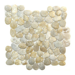 Indo Tile - Natural Finish Cloudey White Pebble Tile, Carton - Natural Finish Cloudey White pebble tile, 100% natural Asian pebbles are assembled on interlocking mesh pattern for a seamless designer finish. A very unique white pebble  with distinctive gray and amber variegation. The pebbles or ancient river rocks are sorted for color size and thickness ensuring the best gauge of pebbles for a uniform height and color pallet. The pebbles are then carefully reviewed again, hand selected then puzzled into a patented interlocking mesh pattern. The result is a premium pebble tile with superior consistency and quality. Each tile assembly is on a sturdy nylon mesh backing using an environmentally safe glue. The patented interlocking pattern is designed so the pebble tiles fit together seamlessly when installed.  The final installed result is a seamless field of pebbles with no detectable tile pattern.