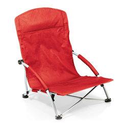 Picnic Time - Red Tranquility Chair - This portable chair boasts padded armrests and a large zip pocket along the back of the headrest. It's constructed from durable 600-denier polyester with a steel frame and folds flat for easy transport and storage.   Includes chair and drawstring bag Weight capacity: 225 lbs. 21.7'' W x 25.4'' H x 25.1'' D Polyester / steel Imported