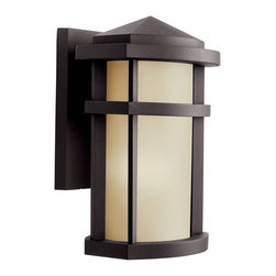 Kichler 1-Light Outdoor Fixture - Architectural Bronze Exterior - One Light Outdoor Fixture The energy efficient lantana collection of outdoor lighting is handsomely stylish with solidly defined lines and done in architectural bronze finish and light umber glass. This 1 light wall lantern uses a 13-w bulb and is 7' wide, 10 high, extends 6 from the wall and has a height of 3 1/4 from the center of wall opening. Listed for wet location. Replacement bulb no 4043. U. S. Patent pending.