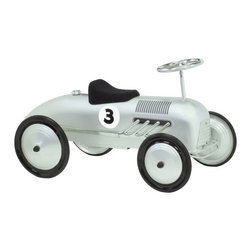 """Morgan Cycle - Morgan Cycle Retro Vintage Streak Car Riding Push Toy Multicolor - 71111 - Shop for Tricycles and Riding Toys from Hayneedle.com! Every child's first car should be as cool as the Morgan Cycle Silver Streak Car Riding Toy. It features tons of safety designs for your peace of mind and tons of food for their appetite for fun. Adjustable pedals mean he won't outgrow this riding toy until he's about 3 going on 18.About Morgan CycleMorgan Cycle has rejected the current trend to produce cheap disposable plastic products in order to offer discerning parents classic finely crafted ride-on toys that will last for generations and transcend fads. Based in Union N.J. Morgan Cycle was founded by bicycle engineer Sylvester Yen who drew on more than two decades of experience to design the company's line of quality retro toys. Morgan Cycle's first product was the streamlined elegant Morgan tricycle which was inspired by the original 1936 design of Harold Van Doren a pioneering designer in the American Industrial Age who favored """"simple solidity"""" in his style. Morgan Cycle has continued to expand its product line to include a variety of cars scooters bikes sleighs gas pumps and more all characterized by beauty safety and quality craftsmanship."""