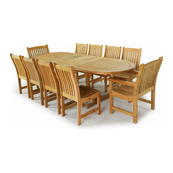 Westminster Teak Furniture - Montserrat 11pc Teak Furniture Dining Set - Double Leaf System Allows Umbrella use while extended or unextended.  Includes Solid Teak Side Chairs and Armchairs.  Rated Best Overall by Wall Street Journal.