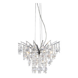 Warehouse of Tiffany - Artemis Chrome Nine-Light Chandelier - Add some elegance to your home with this Artemis Chrome Nine-light Chandelier. This dynamic lighting element features generous rows of cascading crystals to catch the light. Setting: IndoorFixture finish: ChromeMaterial: Metal, crystalSwitch: Hardwired, requires professional installationNumber of lights: 9 piecesRequires: Nine (9) 20-watt bulbs (not included)Dimensions: 22 inches long x 18 inches wide x 39 inches highThis fixture does need to be hard wired. Professional installation is recommended.Attention California Residents: This product contains Lead, a chemical known to the State of California to cause cancer and other reproductive harm.CSA Listed, ETL Listed, UL Listed