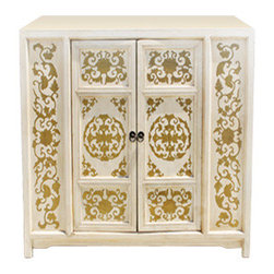 Venetian Cabinet Cream - We followed up our popular reclaimed teal Venetian Cabinet with it's reclaimed sister - Urban Home Venetian Cabinet Cream. Add this cabinet to a colorful family room for a unique place to rest the eye. Features: ornate gold gilding over cream hardwood. Opens up to a chocolate wood finish for contrast complete with one sturdy shelf for storage and organization.